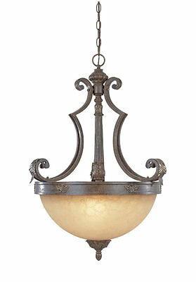 Venetian Bronze And Gold Pendant/Chandelier With Fresco Beige Glass