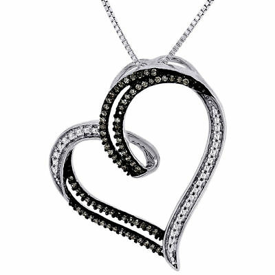Brown Diamond Heart Pendant .925 Sterling Silver Charm Necklace w/ Chain 0.22 Ct