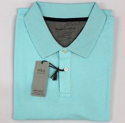 Marks /& Spencer Mens Pure Cotton Polo Pique M/&S T Shirt Top Size XXL Light Teal