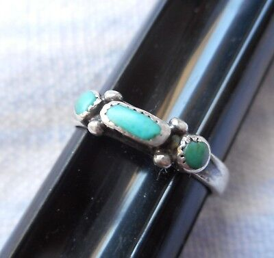 Native American Old Pawn Sterling Silver sz 2.5 Turquoise Ring Indian Jewelry AZ