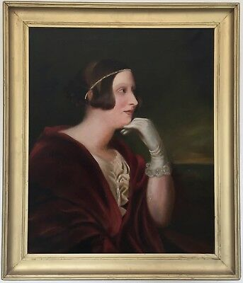 Portrait of a Young Lady Antique Oil Painting 19th Century English School