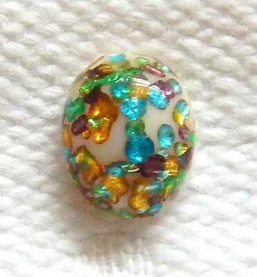 Stunning White-Azure-Emerald-Yellow-Lilac Glass+Sterling Leo Popper Glass Cab
