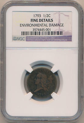 1793 Flowing Hair Half Cent. NGC Fine Details