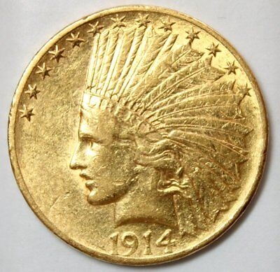 1914 $10 Indian Head Gold Coin * Lustrous Old Gold * FREE SHIPPING