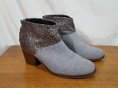 39974bc53d2 Women s TOMS Leila Boots Booties Gray Fabric Silver Textile Tassel Zip -  Size 6