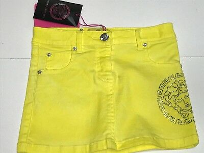 Young Versace New GIRLS KIDS MINI SKIRT CRYSTAL MEDUSA LOGO Sz: 4 RTL: $255 Q458