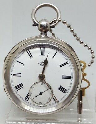 Antique solid silver gents Bell & Dams Uttoxeter pocket watch 1890 working