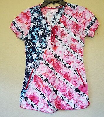 Koi Kathy Peterson Womens Scrub Top XS Patriotic Red White Blue Butterfly Fitted