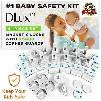 DLux Magnetic Cabinet Locks for Child Safety [12 Locks & Latches, 2 Keys, 4 Kit]