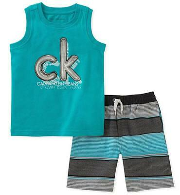 Calvin Klein Boys Teal Tank Top 2pc Board Short Set Size 2T 3T 4T 4 5 6 7