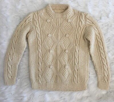 Vtg Kids Handknit Cream Cable Knit Irish Fishermens Sweater Medium 6-7