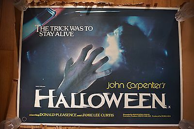 HALLOWEEN RARE UK QUAD HORROR POSTER CINEMA, Myers, John Carpenter Linen Backed