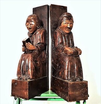 Salvaged Furniture Solid Pair Antique French Hand Carved Wood Corbel Bracket