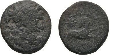 Ancient Greece  2-1 Cent BC Pontos Amisos ZEUS Horse AE20