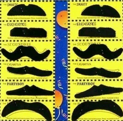 12 Self adhesive Assorted Fake Moustache Set Fancy Dress Party  uk seller
