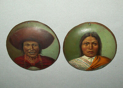 Antique Vtg Late 19th C 1800s Pr of Portrait of South American Indian on Copper