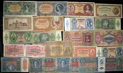 1913 - 1946 Austria Hungary Collection Lot 22 Vintage Old Banknotes Paper Money