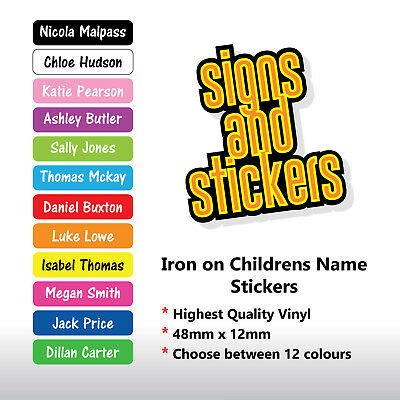 25 personalised iron on name tags school uniform care home easy to apply labels