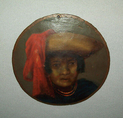 Antique Vtg Late 19th C 1800s Portrait of South American Indian Man Copper Disc.