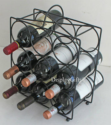Wrought Iron Wine Rack Stand Storage Tabletop Holds 9 Bottles