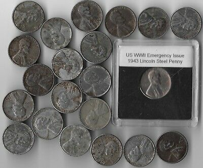 Rare Old WWII US Coin Collection Steel Penny 1943 USA WW2 Vintage War Cent Lot
