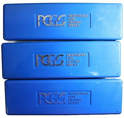 LOT of 3 PCGS Blue Coin Slab Storage Boxes. NICE CLEAN BOXES