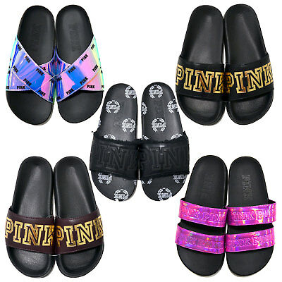 a6d07f535de05 VICTORIA'S SECRET PINK Slides Slip On Sandals Metallic Graphic Flip Flops  New Vs