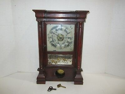 Antique Seth Thomas Plymouth Alarm Clock Made In Usa 8 Day, Time And Strike
