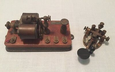 Antique J.H. Bunnell Telegraph RELAY SOUNDER & KEY Morse Code Type 2-11 150 OHMS