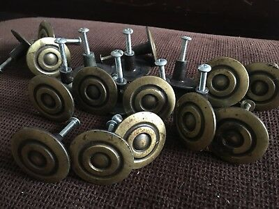"Lot of 21 vintage mid century modern 1.5"" Brass cabinet drawer knobs Art Deco"