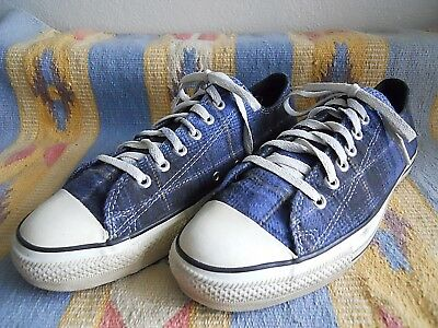 Vtg Converse All Star Plaid Low Top Sneakers Size 10.5 Made in USA Rare