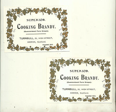 Two Superior Cooking Brandy Bottle Labels Turnbull Hawick Scotland