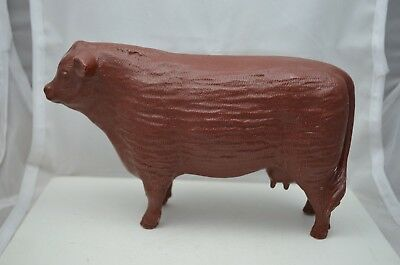Vintage Plastic Cow Brown Hereford Farm Animal Figure Unmarked hb