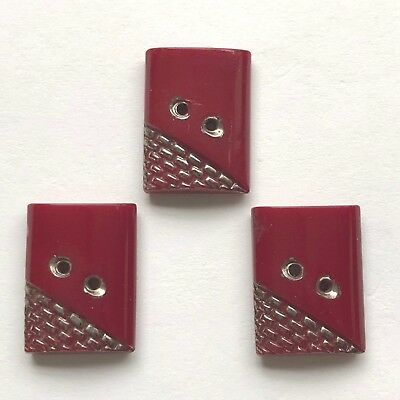 Vintage matched set of 3 Maroon Art Deco Rectangular Buttons Silver Lustre 514-4