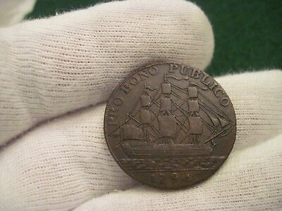 1794 Half Penny Ship At Sea Soldier Conder Token Colonial Coin