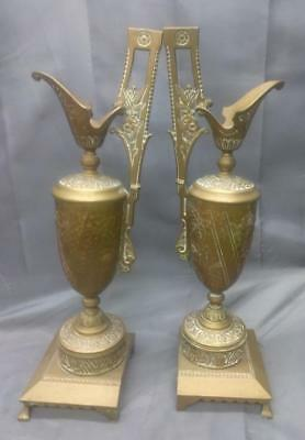 Antique Pair of Two 2 Aesthetic Movement Mission Era Hand Hammered Copper Ewers
