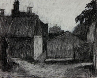 Mu - Contemporary Charcoal Drawing, Buildings