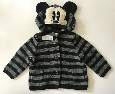 NWT Disney Mickey Baby GAP Sweater 6-12 Months~Mickey Mouse Button Up Sweater