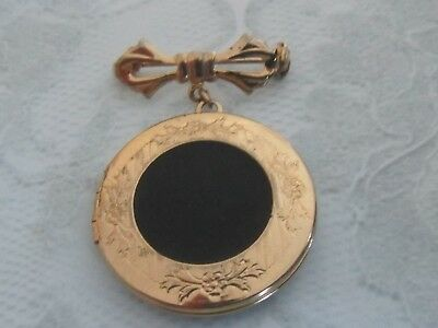 Vintage 1960's Etched Goldtone Round Locket with Black Insert on Bow Brooch