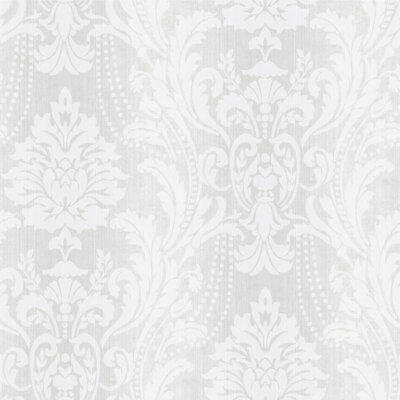 Elegant Dove Grey & Subtle Silver Beautiful Damask Wallpaper - 10m Roll