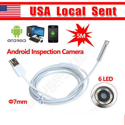 Fr Android Win 2in1 USB 7mm Endoscope Waterproof Borescopes Inspection HD 6 LEDs