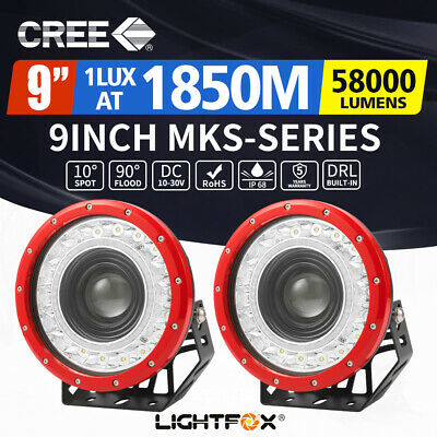 Pair 9 inch CREE LED Driving Lights Spot Round Red Spotlights 4x4 OffRoad SUV
