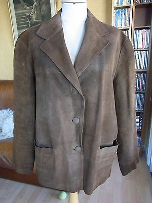 Giacca Camoscio Donna T42 Vintage 60 WOMAN'S Suede Jacket L