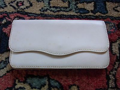 POUCH LEATHER WALLET 11X21cm VINTAGE 60 WHITE LEATHER CLUTCH BAG WALLET
