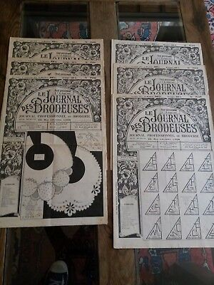 6 Antiguos Periódicos Le Journal Des Brodeuses 1953 Vintage Embroidery Patterns