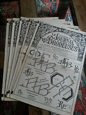 5 Alt Zeitungshalter Le Journal des Brodeuses 1962 Vintage Stickerei Patterns
