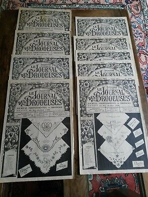 9 Antiguos Periódicos Le Journal Des Brodeuses 1956 Vintage Embroidery Patterns