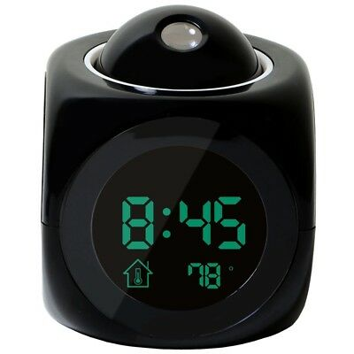 Multi-function Digital LCD Voice Talking LED Projection Alarm Clock Black FK