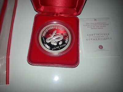 2001 lunar series 1 2 oz silver proof coin year of the snake perth mint