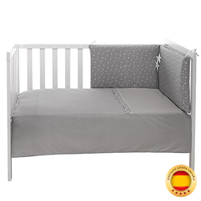 Funny Baby Stars - Colcha + protector para cuna, 60 x 120 cm, color gris